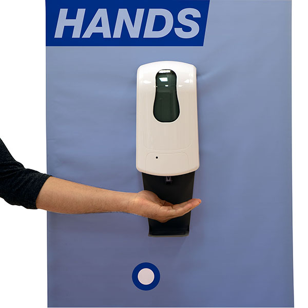 Eurofit Banner with Hands-Free Sanitizer Dispenser and graphics