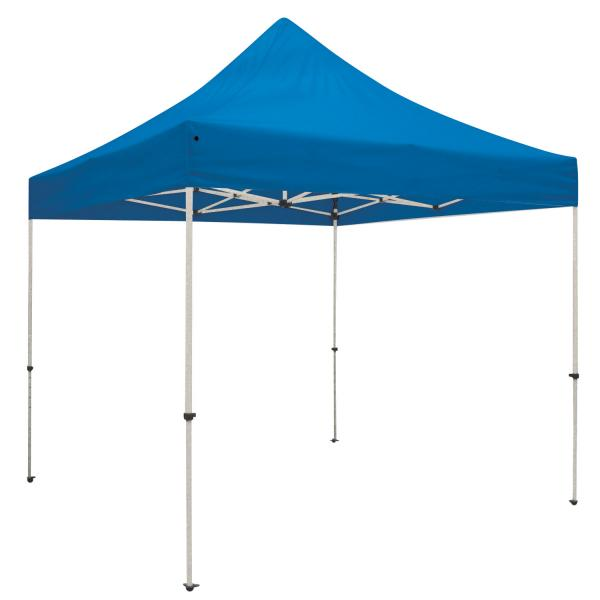 Outdoor popup event tent with unprinted canopy bright colors