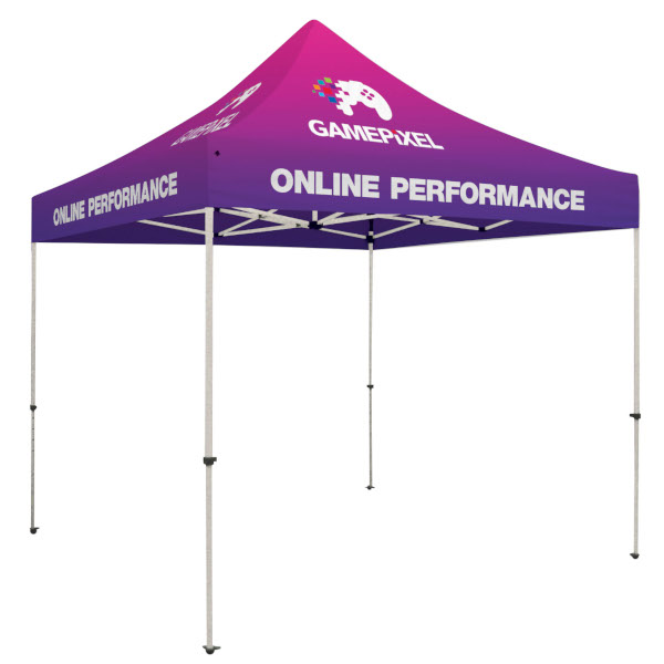 Creative Banner 10x10 event tent with dye-sub full color printed logos, messaging