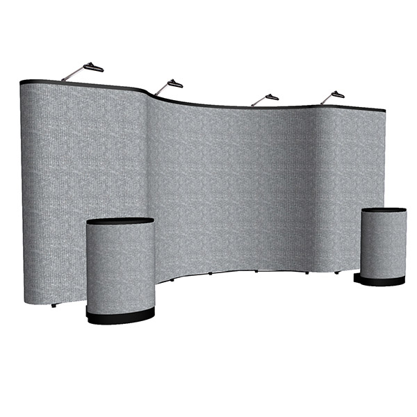 Arise 20ft Full Fabric Combo Display with cases and lighting