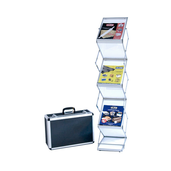 Literature Rack with 6 frosted shelves, carry case