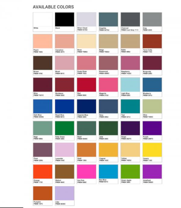 PMS Color Chart for backdrops