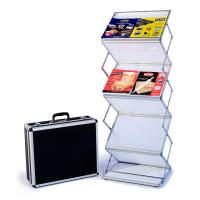 Literature Rack with 6 double-wide frosted shelves, carry case